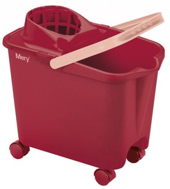 Mery Cleaning Bucket On Wheels 14L Red