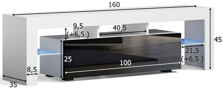TV galds Pro Meble Milano 160 With Light Sonoma Oak/Black, 1600x350x450 mm