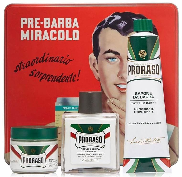 Proraso Green Pre-shaving Cream 100ml + 100ml After Shave Balm + 150ml Shaving Soap In A Tube