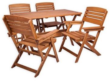 Āra mēbeļu komplekts Folkland Timber Heini 4, brūns, 4 sēdvietas