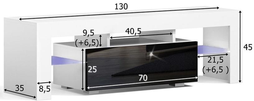 TV galds Pro Meble Milano 130 Walnut/Black, 1300x350x450 mm