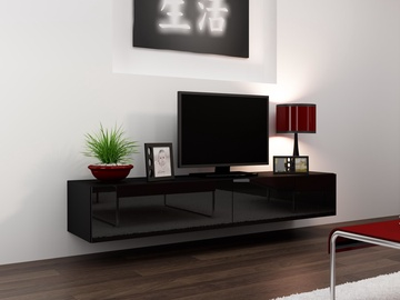 TV galds Cama Meble Vigo 180 Black/Black Gloss, 1800x300x400 mm