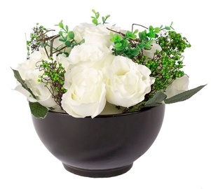 Home4you Red Velvet White Rose Bouquet D25xH20cm