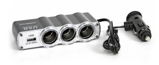 Omega 3x Car Charger Socket Spliiter + USB Grey