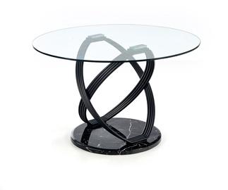Обеденный стол Halmar Optico, прозрачный/черный, 1220x1220x770мм