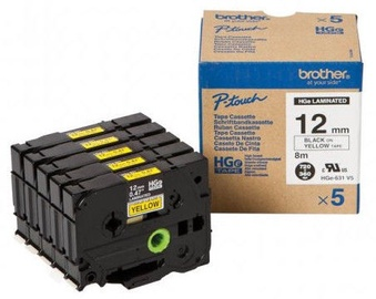 Brother HGe-631V5 Labelling Tape Cassette Black on Yellow 12mm