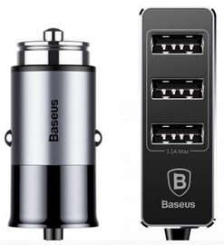 Baseus Premium Tripple USB Quick Charge Car Charger Black