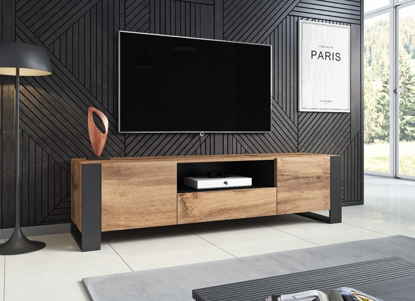 TV galds Cama Meble Wood Wotan/Anthracite, 1800x440x480 mm