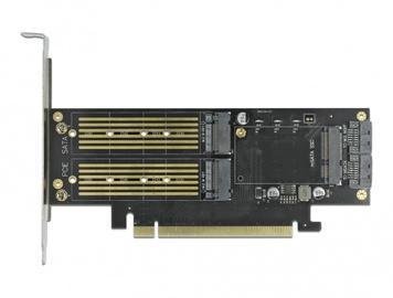 Paplašināšanas karte Delock PCI Express x16 Card to 2x M.2 1x mSATA Low Profile