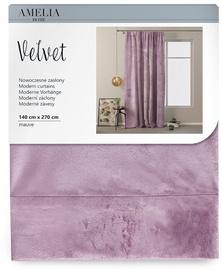 Nakts aizkari AmeliaHome Velvet Pleat, rozā, 1400x2700 mm