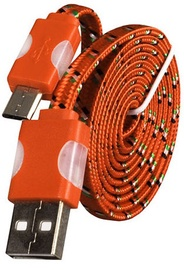 Etui Super Flat Universal Micro USB Cable w/ LED Light Orange