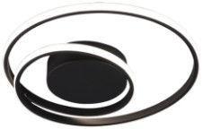 Trio Zibal matēts melns griestu LED gaismeklis, 22W, 2200lm, 3000K, trīspakāpju slēdža aptumšošanas funkcija