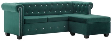 Stūra dīvāns VLX Chesterfield 247151, zaļa, 199 x 142 x 72 cm