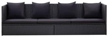 Садовый диван VLX Poly Rattan, черный, 200 см x 60 см x 58 см