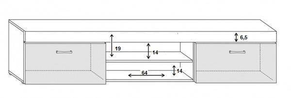 ТВ стол Cama Meble Samba, белый/черный, 2000x450x390 мм
