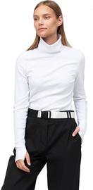 Audimas Cotton Long Sleeve Roll Neck Top White XS