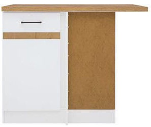 Black Red White Bottom Corner Cabinet Right Junona Line DNW/100/82P White/Sonoma Oak