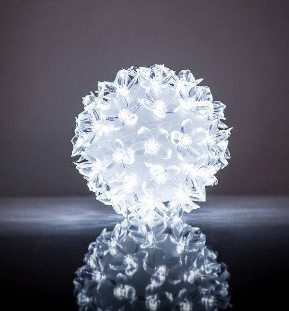 EV LED 50 Ball with Flowers White D11cm