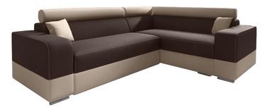Stūra dīvāns Idzczak Meble Infinity Mini Brown/Beige, labais, 256 x 186 x 93 cm