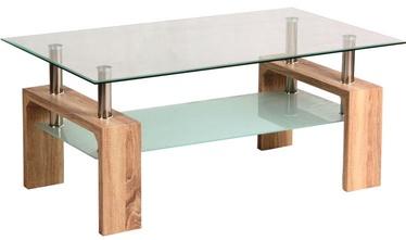 Kafijas galdiņš Signal Meble Lisa Basic, caurspīdīga/brūna, 1000x450x600 mm