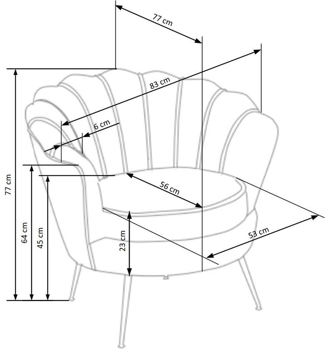 Atzveltnes krēsls Halmar Amorinito, zelta/pelēka, 83x77x77 cm