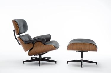 Atzveltnes krēsls Top E Shop Lord With Footrest, melna/valriekstu, 75 cm x 88 cm x 82 cm