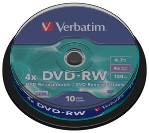 Verbatim DVD-RW 4X 4,7GB 10P Cake Box