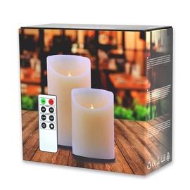 DecoKing Wax LED Candle Set w/ Remote Control 10/15cm 2pcs