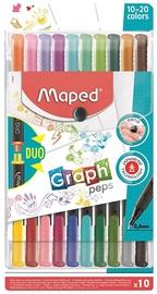 Фломастер Maped Graph Peps, сдвоенные пусеты, 10 шт.