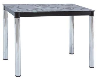 Pusdienu galds Signal Meble Modern Damar II, melna, 1000x600x750mm