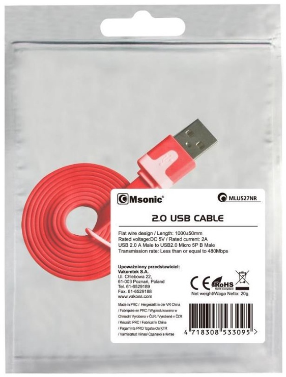 Vakoss Cable USB to USB-micro Red 1m