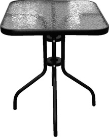 Dārza galds Besk Black/Transparent, 60 x 60 x 70 cm