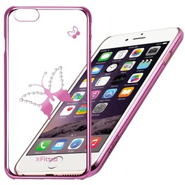 X-Fitted Classic Butterfly Swarovski Crystals Back Case For Apple iPhone 6/6s Pink