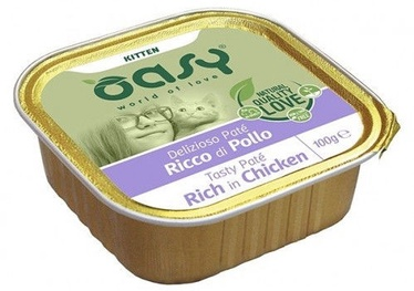 Oasy Tasty Pate Rich In Chicken Kitten Wet Food 100g