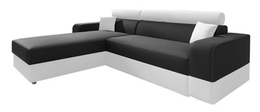 Stūra dīvāns Idzczak Meble Infinity Lux Black/White, kreisais, 184 x 184 x 95 cm