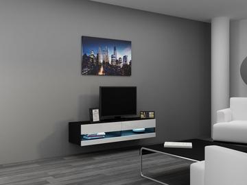 ТВ стол Cama Meble Vigo New 140, белый/черный, 1400x300x1400 мм