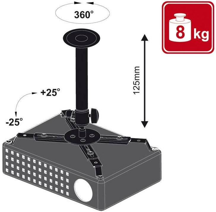 Крепеж 4World Projector Ceiling Bracket Tilt 12.5cm Black