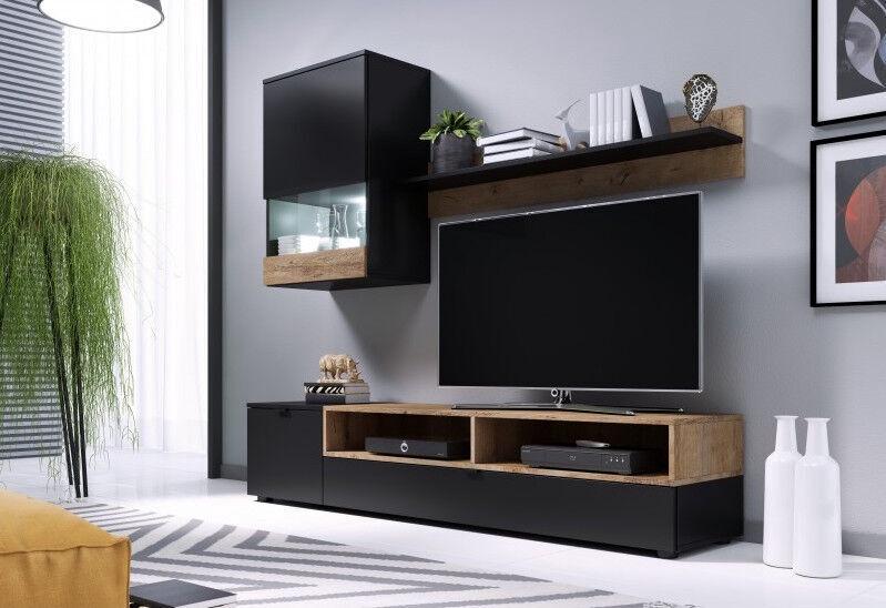 Dzīvojamās istabas mēbeļu komplekts Cama Meble Pat Black Oak Lefkas