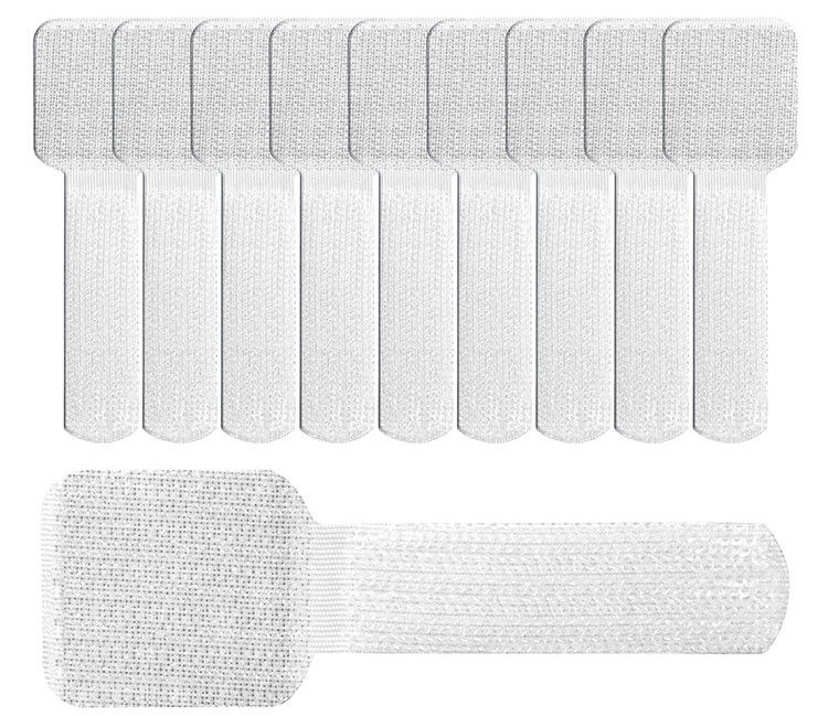 Label The Cable Wall Velcro Cable Holder Set Of 10 White