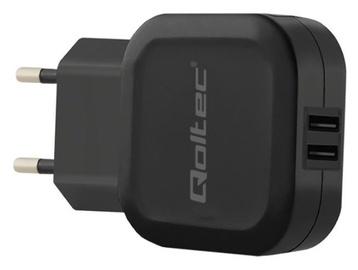 Qoltec Charger Adapter USB x2 / Euro Plug Black