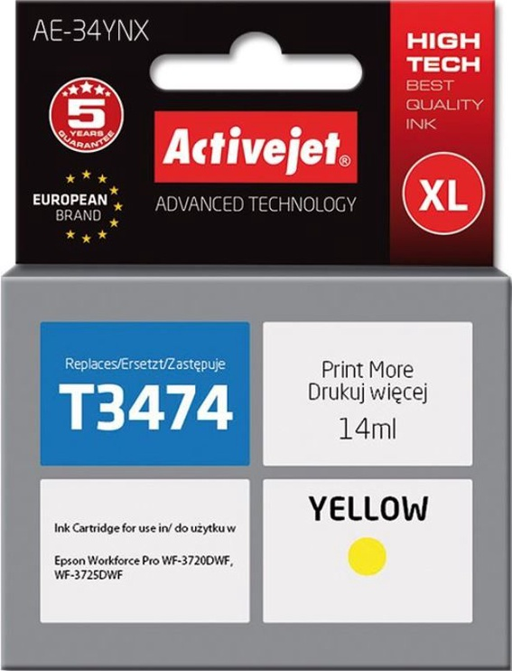 ActiveJet Cartridge AE-34YNX For Epson 14ml Yellow