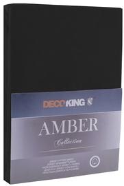 Palags DecoKing Amber, melna, 120x200 cm, ar gumiju