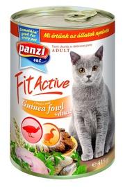 Konservi pieaugušiem kaķiem Panzi Fit Active, ar pērļu vistiņas un pīles gaļu, 415 g