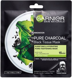 Маска для лица Garnier Skin Naturals Pure Charcoal Black Tissue Mask With Algae, 1 шт.
