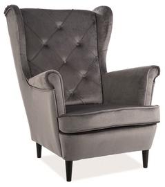 Atzveltnes krēsls Signal Meble Lady Velvet Gray, 75x85x101 cm