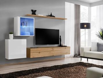 Dzīvojamās istabas mēbeļu komplekts ASM Switch XV White/Wotan Oak