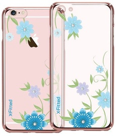 X-Fitted Blue Flowers Swarovski Crystals Back Case For Apple iPhone 6/6s Rose Gold
