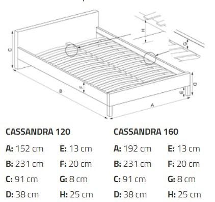 Кровать Halmar Cassandra White/Black, 231x152 см, с решеткой