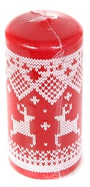 Verners Pillar Candle 7x15cm Red With Ornaments
