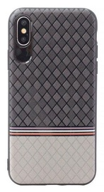 Mocco Trendy Grid And Stripes Pattern 2 Back Case For Apple iPhone X Grey